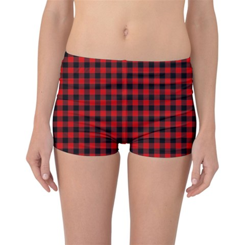 Lumberjack Plaid Fabric Pattern Red Black Reversible Boyleg Bikini Bottoms