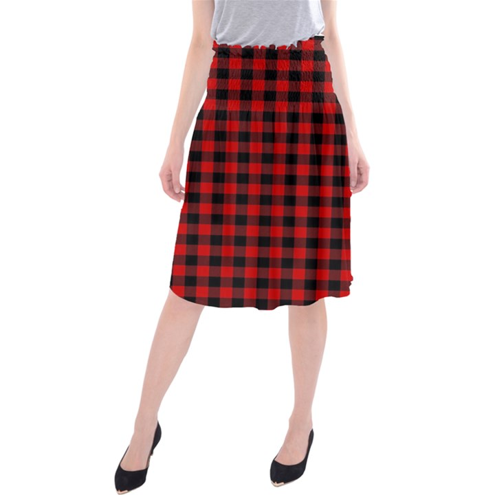 Lumberjack Plaid Fabric Pattern Red Black Midi Beach Skirt