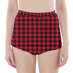 Lumberjack Plaid Fabric Pattern Red Black High Waisted Bikini Bottoms