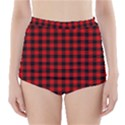 Lumberjack Plaid Fabric Pattern Red Black High-Waisted Bikini Bottoms View1