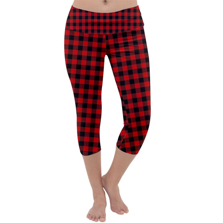 Lumberjack Plaid Fabric Pattern Red Black Capri Yoga Leggings