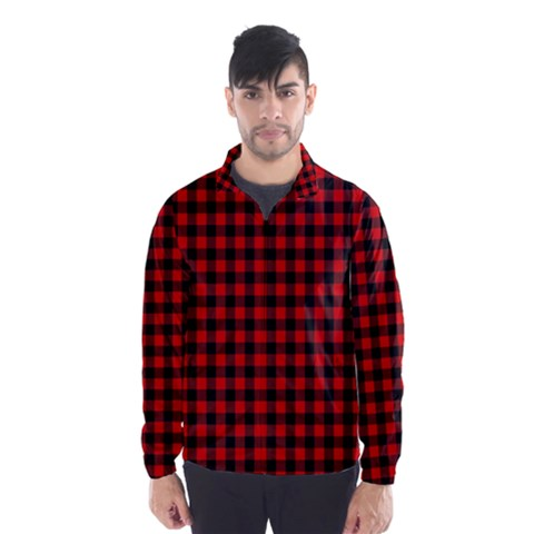 Lumberjack Plaid Fabric Pattern Red Black Wind Breaker (Men)