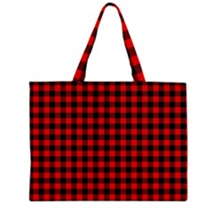Lumberjack Plaid Fabric Pattern Red Black Large Tote Bag