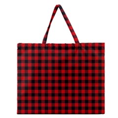 Lumberjack Plaid Fabric Pattern Red Black Zipper Large Tote Bag