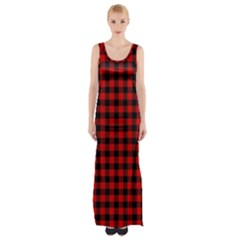 Lumberjack Plaid Fabric Pattern Red Black Maxi Thigh Split Dress