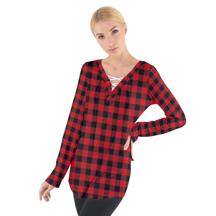 Lumberjack Plaid Fabric Pattern Red Black Women s Tie Up Tee