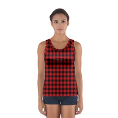 Lumberjack Plaid Fabric Pattern Red Black Women s Sport Tank Top