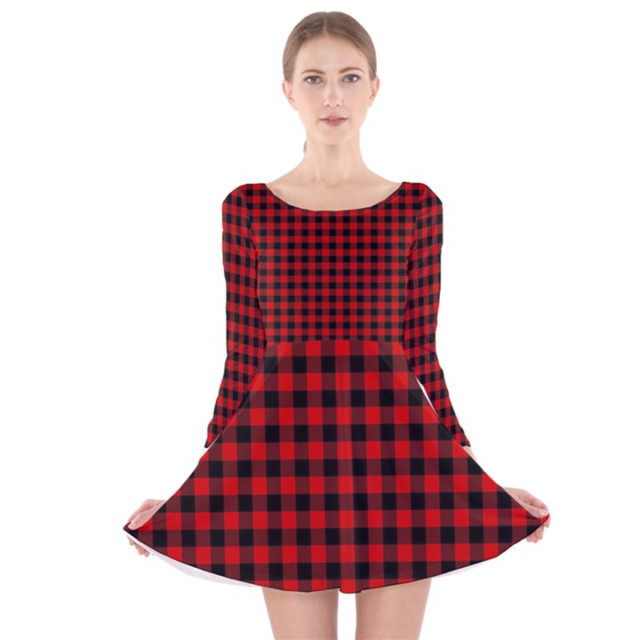 Lumberjack Plaid Fabric Pattern Red Black Long Sleeve Velvet Skater Dress