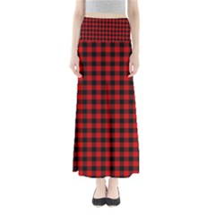 Lumberjack Plaid Fabric Pattern Red Black Maxi Skirts