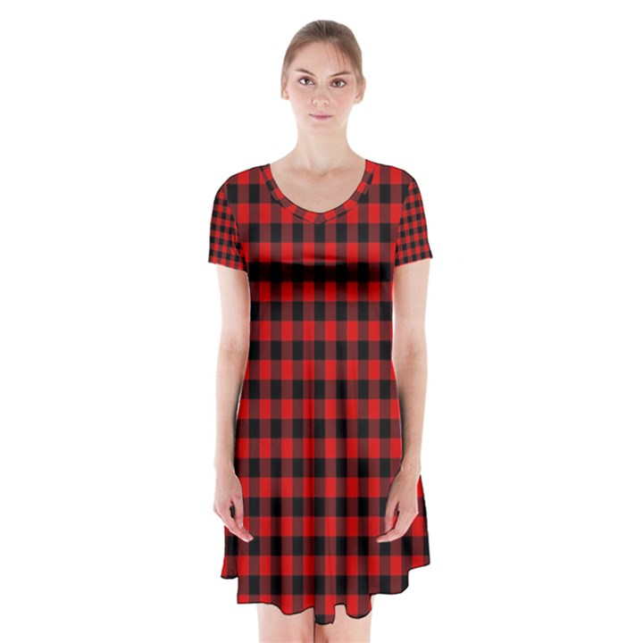 Lumberjack Plaid Fabric Pattern Red Black Short Sleeve V-neck Flare Dress