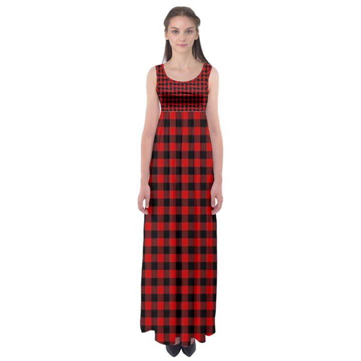Lumberjack Plaid Fabric Pattern Red Black Empire Waist Maxi Dress