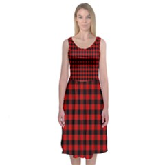 Lumberjack Plaid Fabric Pattern Red Black Midi Sleeveless Dress