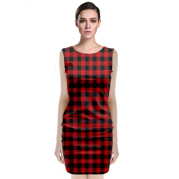 Lumberjack Plaid Fabric Pattern Red Black Classic Sleeveless Midi Dress