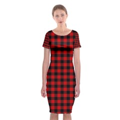 Lumberjack Plaid Fabric Pattern Red Black Classic Short Sleeve Midi Dress