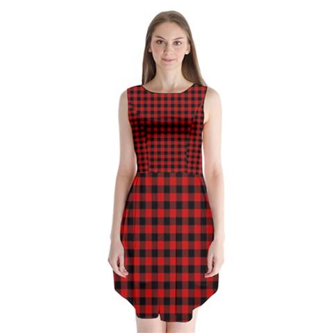 Lumberjack Plaid Fabric Pattern Red Black Sleeveless Chiffon Dress