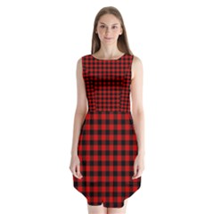 Lumberjack Plaid Fabric Pattern Red Black Sleeveless Chiffon Dress
