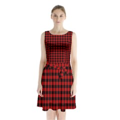 Lumberjack Plaid Fabric Pattern Red Black Sleeveless Chiffon Waist Tie Dress