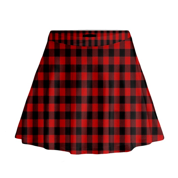 Lumberjack Plaid Fabric Pattern Red Black Mini Flare Skirt
