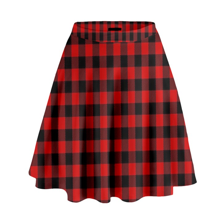 Lumberjack Plaid Fabric Pattern Red Black High Waist Skirt