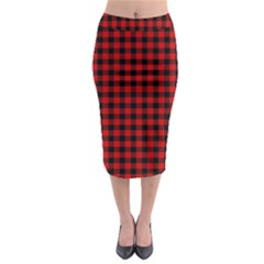 Lumberjack Plaid Fabric Pattern Red Black Midi Pencil Skirt
