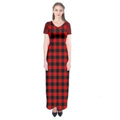 Lumberjack Plaid Fabric Pattern Red Black Short Sleeve Maxi Dress