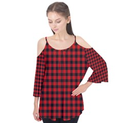 Lumberjack Plaid Fabric Pattern Red Black Flutter Tees