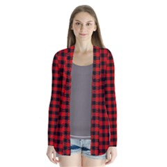 Lumberjack Plaid Fabric Pattern Red Black Drape Collar Cardigan