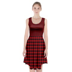 Lumberjack Plaid Fabric Pattern Red Black Racerback Midi Dress