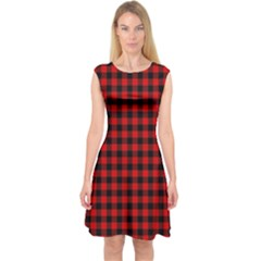 Lumberjack Plaid Fabric Pattern Red Black Capsleeve Midi Dress