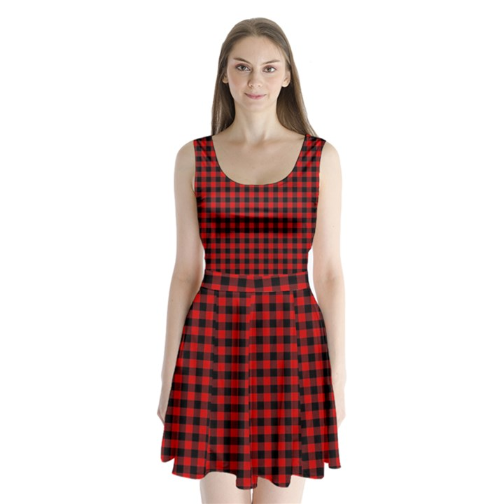 Lumberjack Plaid Fabric Pattern Red Black Split Back Mini Dress