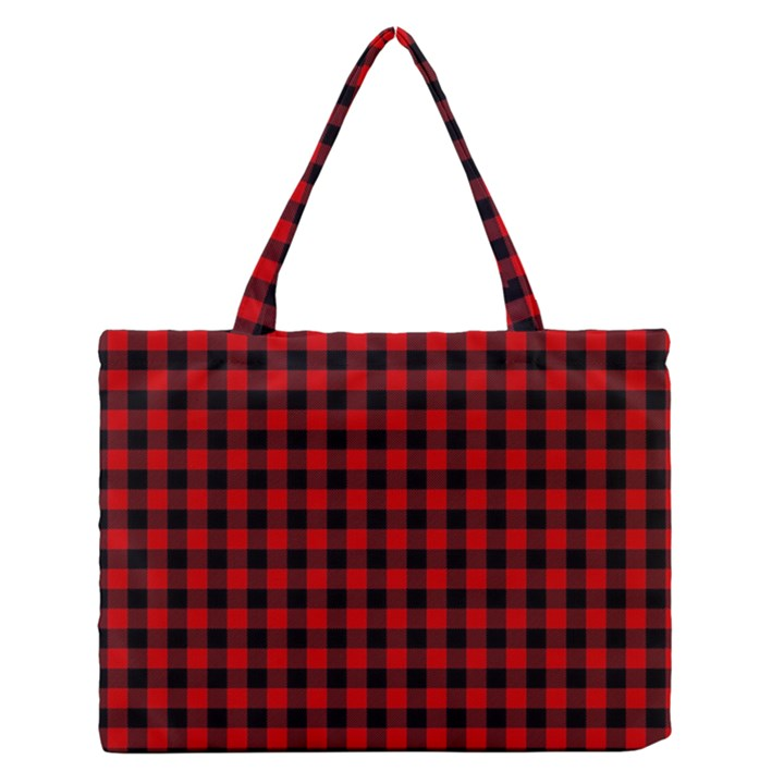Lumberjack Plaid Fabric Pattern Red Black Medium Zipper Tote Bag