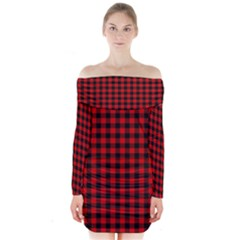 Lumberjack Plaid Fabric Pattern Red Black Long Sleeve Off Shoulder Dress