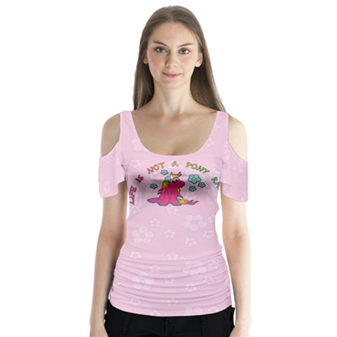 PONYRANCH Butterfly Sleeve Cutout Tee