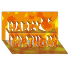 Orange decor Happy Birthday 3D Greeting Card (8x4)