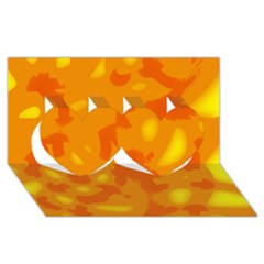 Orange decor Twin Hearts 3D Greeting Card (8x4)