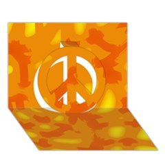 Orange decor Peace Sign 3D Greeting Card (7x5)