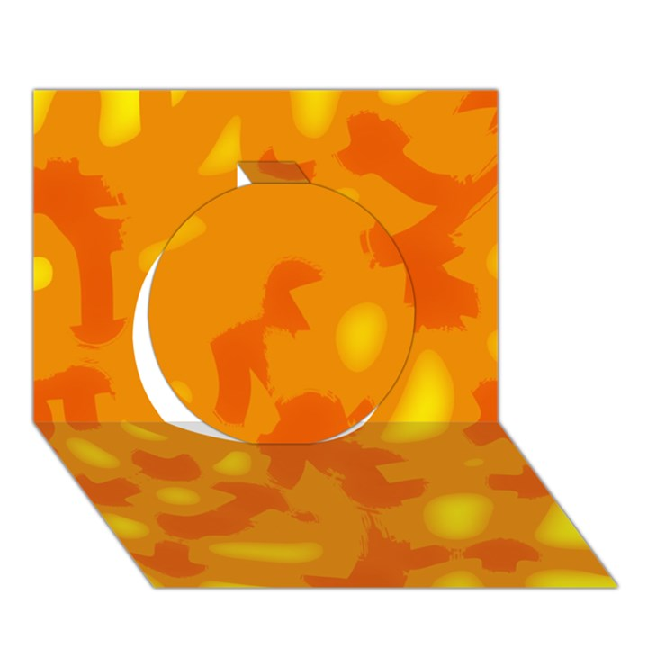 Orange decor Circle 3D Greeting Card (7x5)