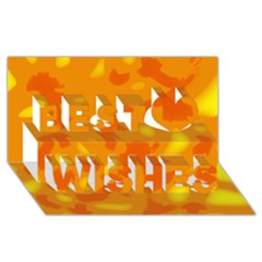 Orange Decor Best Wish 3d Greeting Card (8x4)