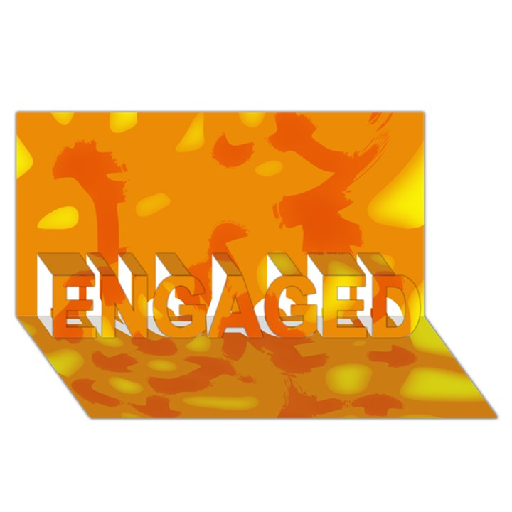 Orange decor ENGAGED 3D Greeting Card (8x4)