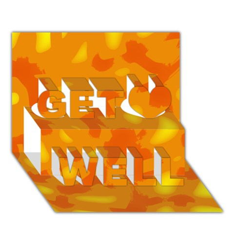 Orange decor Get Well 3D Greeting Card (7x5)