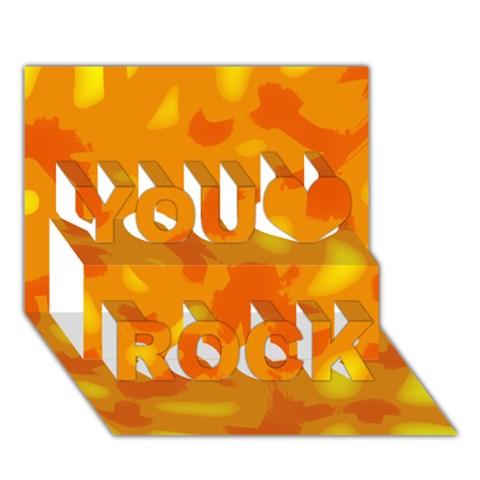 Orange decor You Rock 3D Greeting Card (7x5)