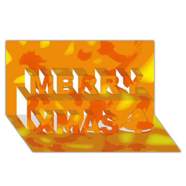Orange decor Merry Xmas 3D Greeting Card (8x4)