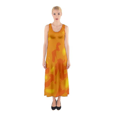 Orange decor Sleeveless Maxi Dress