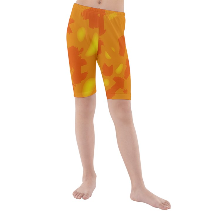Orange decor Kids  Mid Length Swim Shorts