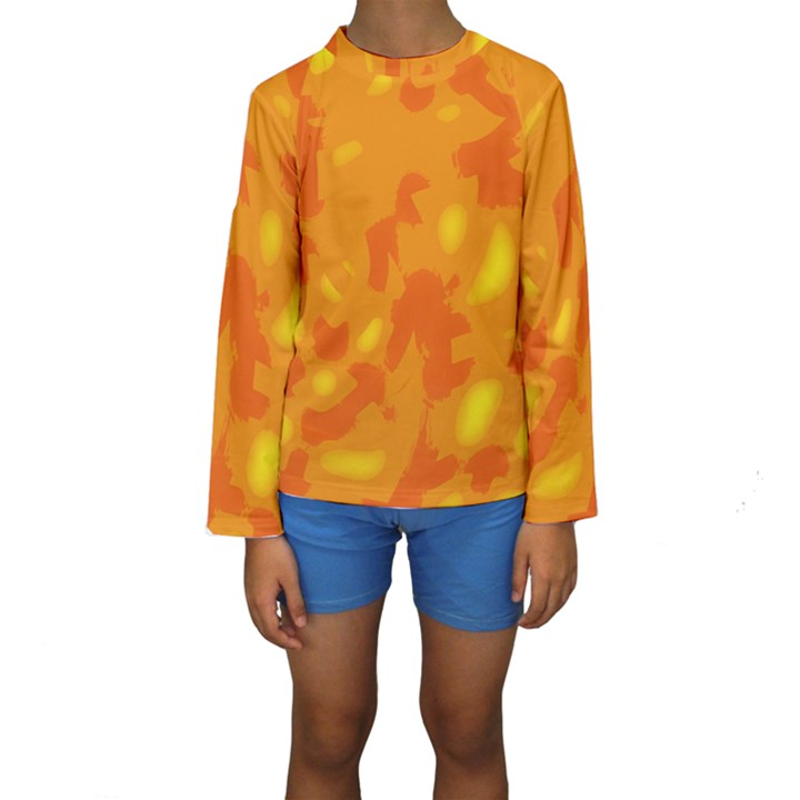 Orange decor Kids  Long Sleeve Swimwear