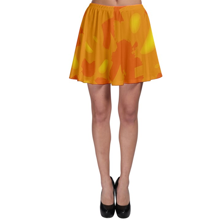 Orange decor Skater Skirt