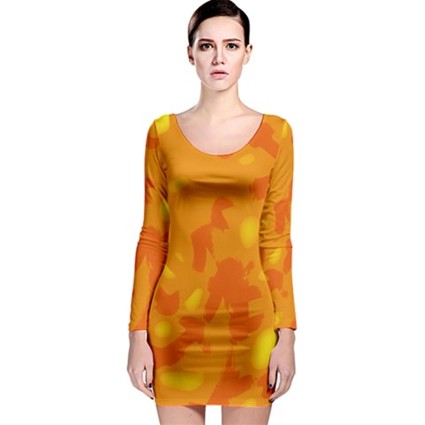 Orange decor Long Sleeve Bodycon Dress