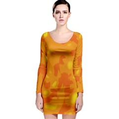 Orange Decor Long Sleeve Bodycon Dress