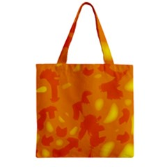 Orange Decor Zipper Grocery Tote Bag