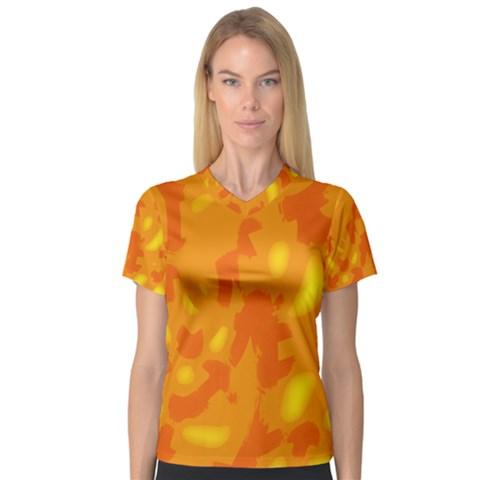 Orange decor Women s V-Neck Sport Mesh Tee